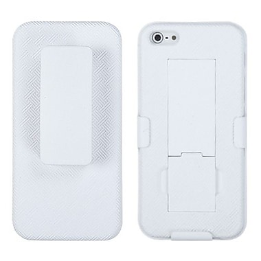 Insten® Hybrid Rubberized Holster W/Stand F/iPhone 5/5S, Solid Ivory White