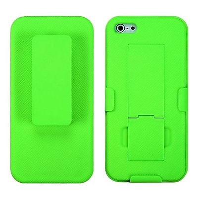 Insten® Hybrid Rubberized Holster W/Stand F/iPhone 5/5S; Green