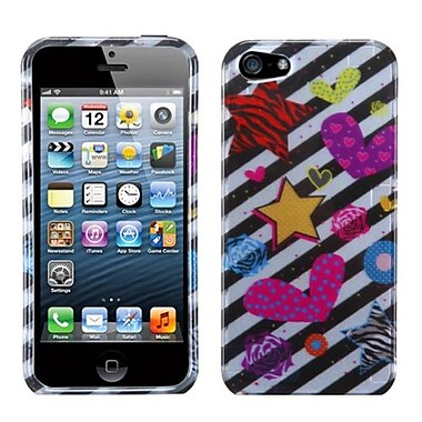 Insten® Phone Protector Cover F/iPhone 5/5S, Color Heart (2D Silver)