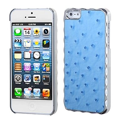 Insten® Alloy Executive Back Protector Cover F/iPhone 5/5S, Sky Blue Silver Plating Ostrich