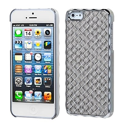 Insten® Alloy Executive Back Protector Cover F/iPhone 5/5S, Silver Grey Silver Plating Plaid/Silver