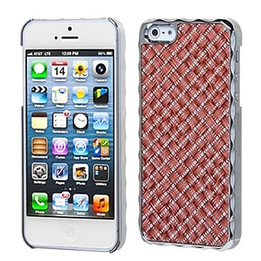 Insten® Alloy Executive Back Protector Cover F/iPhone 5/5S, Vermilion Silver Plating Plaid/Silver