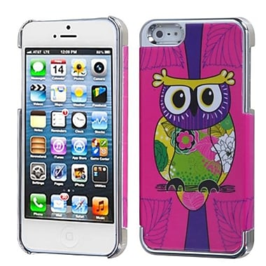 Insten® MyDual Back Protector Cover F/iPhone 5/5S, Tropical Pink Owl/Silver Plating