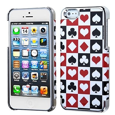 Insten® MyDual Back Protector Cover F/iPhone 5/5S; Card Suits/Silver Plating