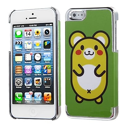 Insten® MyDual Back Protector Cover F/iPhone 5/5S; Cute Hamster/Silver Plating