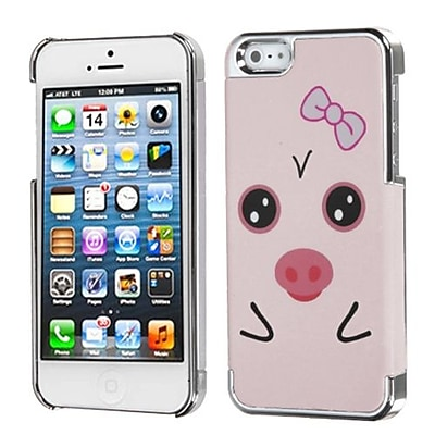 Insten® MyDual Back Protector Cover F/iPhone 5/5S; Hungry Piggy/Silver Plating