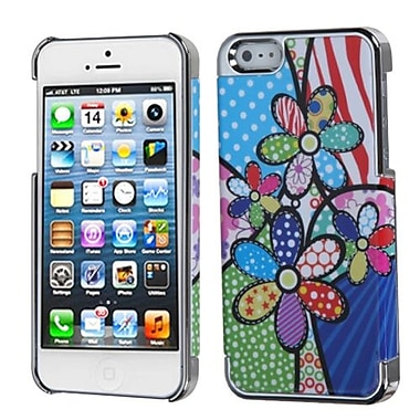 Insten MyDual Back Protector Cover For iPhone 5/5S, Patchwork Flowers/Silver Plating (1009762)
