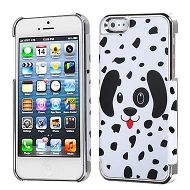 Insten® MyDual Back Protector Cover F/iPhone 5/5S, Dotted Dalmatian/Silver Plating