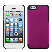 Insten® MyDual Rubberized Back Protector Cover F/iPhone 5/5S, Titanium Solid Hot-Pink/Black