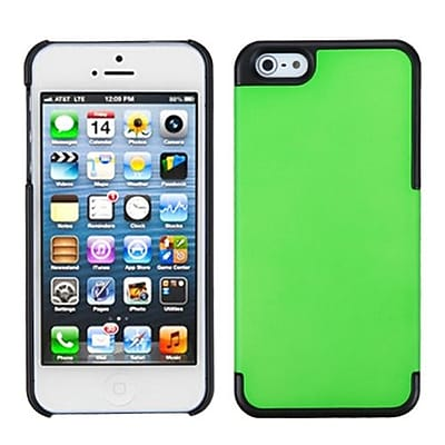 Insten® MyDual Rubberized Back Protector Cover F/iPhone 5/5S; Dark Green/Black