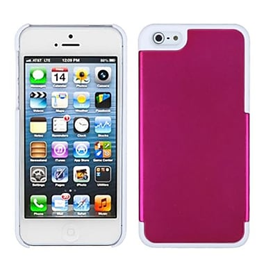 Insten® MyDual Rubberized Back Protector Cover F/iPhone 5/5S, Titanium Solid Hot-Pink/Ivory White