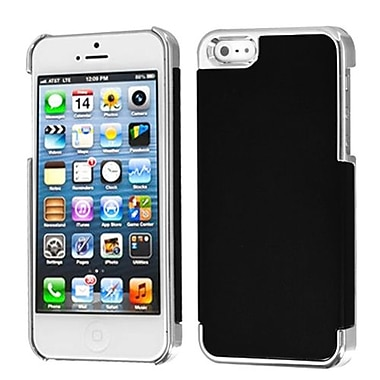 Insten® MyDual Rubberized Back Protector Cover F/iPhone 5/5S, Black/Silver Plating