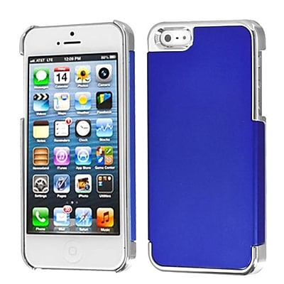 Insten® MyDual Back Protector Cover F/iPhone 5/5S; Titanium Dark Blue/Silver Plating