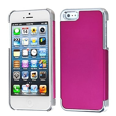 Insten MyDual Back Protector Cover For iPhone 5/5S, Titanium Hot Pink/Silver Plating (1009778)