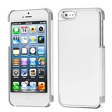 Insten MyDual Rubberized Back Protector Cover For iPhone 5/5S, Ivory White/Silver Plating (1009779)