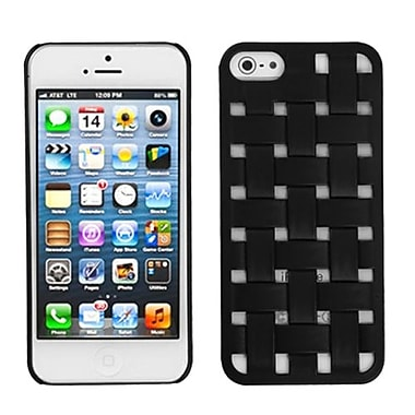 Insten® Rubberized Weave Texture Back Protector Cover F/iPhone 5/5S, Black