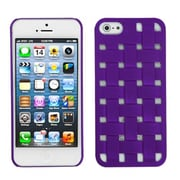 Insten® Rubberized Weave Texture Back Protector Cover F/iPhone 5/5S, Purple