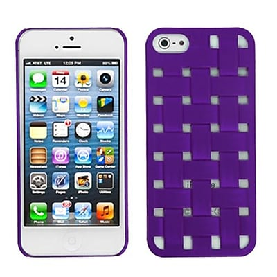 Insten® Rubberized Weave Texture Back Protector Cover F/iPhone 5/5S; Purple
