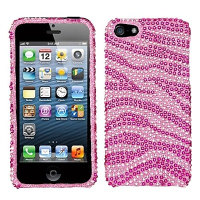 Insten® Diamante Protector Cover F/iPhone 5/5S; Pink/Hot-Pink Zebra Skin