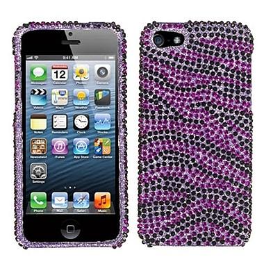 Insten® Diamante Protector Cover F/iPhone 5/5S, Purple/Black Zebra Skin