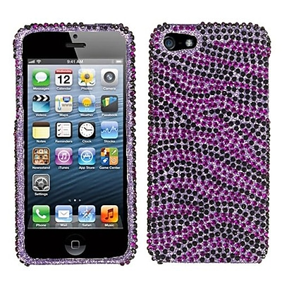 Insten® Diamante Protector Cover F/iPhone 5/5S; Purple/Black Zebra Skin