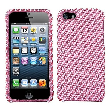 Insten® Diamantes Phone Protector Cover F/iPhone 5/5S, White/Pink