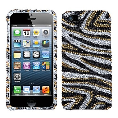 Insten® Diamante Phone Protector Cover F/iPhone 5/5S, Golden Zebra Skin