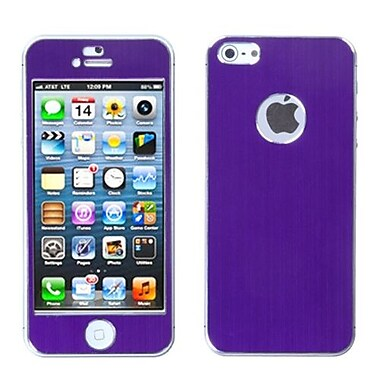 Insten® Brushed Metal Decal Shield Phone Protector Cover F/iPhone 5/5S, Purple