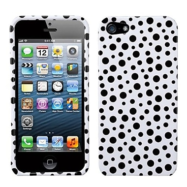 Insten Phone Protector Cover For iPhone 5/5S, Black Mixed Polka Dots (1009898)