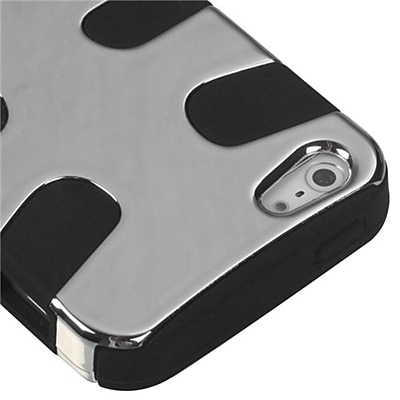 Insten® Fishbone Phone Protector Cover F/iPhone 5/5S, Silver Plating/Black
