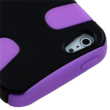 Insten Fishbone Rubberized Phone Protector Cover For iPhone 5/5S, Black/Electric Purple (1010013)