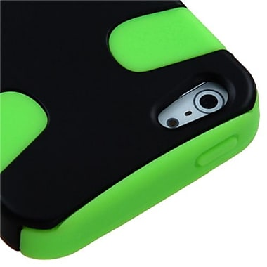 Insten Fishbone Rubberized Phone Protector Cover For iPhone 5/5S, Black/Electric Green (1010015)