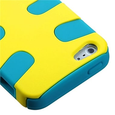 Insten Fishbone Rubberized Phone Protector Cover For iPhone 5/5S, Yellow/Tropical Teal (1010016)