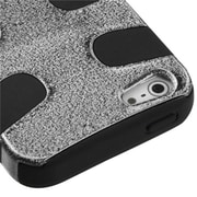 Insten® Fishbone Phone Protector Cover F/iPhone 5/5S, Black Plating Matte Wrinkle/Black