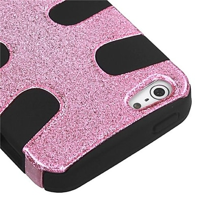 Insten® Fishbone Phone Protector Cover F/iPhone 5/5S; Pink Plating Matte Wrinkle/Black