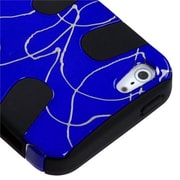 Insten® Fishbone Phone Protector Cover F/iPhone 5/5S, d Lines Dark Blue/Black