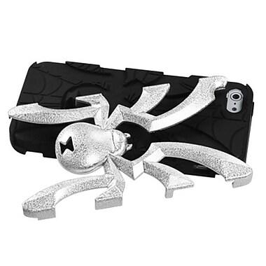 Insten® Spiderbite Hybrid Protector Cover F/iPhone 5/5S, Silver Plating Matte Wrinkle/Black