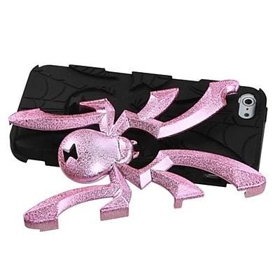 Insten® Spiderbite Hybrid Protector Cover F/iPhone 5/5S; Pink Plating Matte Wrinkle/Black