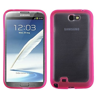 Insten® Stripes Gummy Case For Samsung Galaxy Note II (T889/I605), Transparent Clear/Solid Hot-Pink