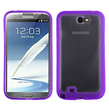 Insten® Stripes Gummy Case For Samsung Galaxy Note II (T889/I605), Transparent Clear/Solid Purple