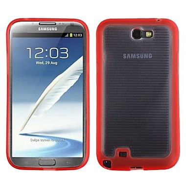 Insten® Stripes Gummy Case For Samsung Galaxy Note II (T889/I605), Transparent Clear/Solid Red Blue