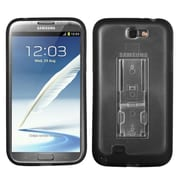 Insten® Gummy Case W/Stand For Samsung Galaxy Note II (T889/I605), Transparent Clear/Solid Black