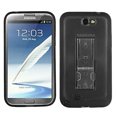 Insten® Gummy Case W/Stand For Samsung Galaxy Note II (T889/I605), Transparent Smoke/Solid Black