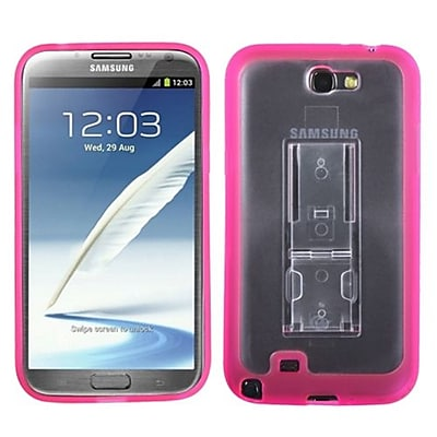 Insten® Gummy Case W/Stand For Samsung Galaxy Note II (T889/I605), Transparent Clear/Solid Hot-Pink