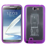 Insten® Gummy Case W/Stand For Samsung Galaxy Note II (T889/I605), Transparent Clear/Solid Purple