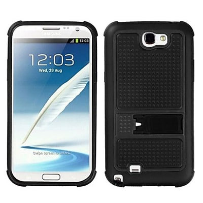 Insten® Gummy Armor Stand For Samsung Galaxy Note II (T889/I605), Black