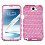 Insten® Diamante Phone Protector Case For Samsung Galaxy Note II (T889/I605); Pink/White Dots