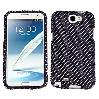 Insten® Diamante Phone Protector Case For Samsung Galaxy Note II (T889/I605), Stripe Purple/Black
