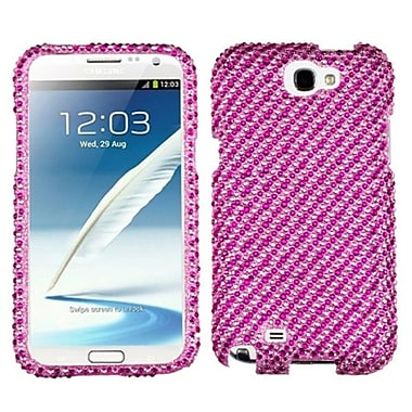 Insten® Diamante Phone Protector Case For Samsung Galaxy Note II (T889/I605), Stripe Pink/Hot-Pink