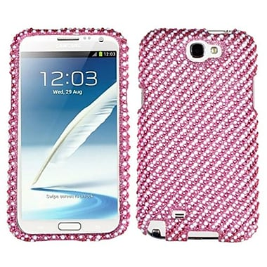Insten® Diamante Phone Protector Case For Samsung Galaxy Note II (T889/I605), Stripe White/Pink